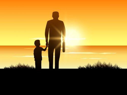 아빠와 아이가 함께 걷는 사진