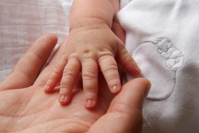 엄마의 손을 잡은 아이