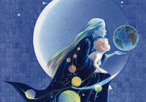 달에 있는 엄마와 아기