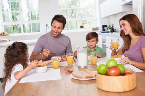 영양이 풍부한 아이들의 아침 식사