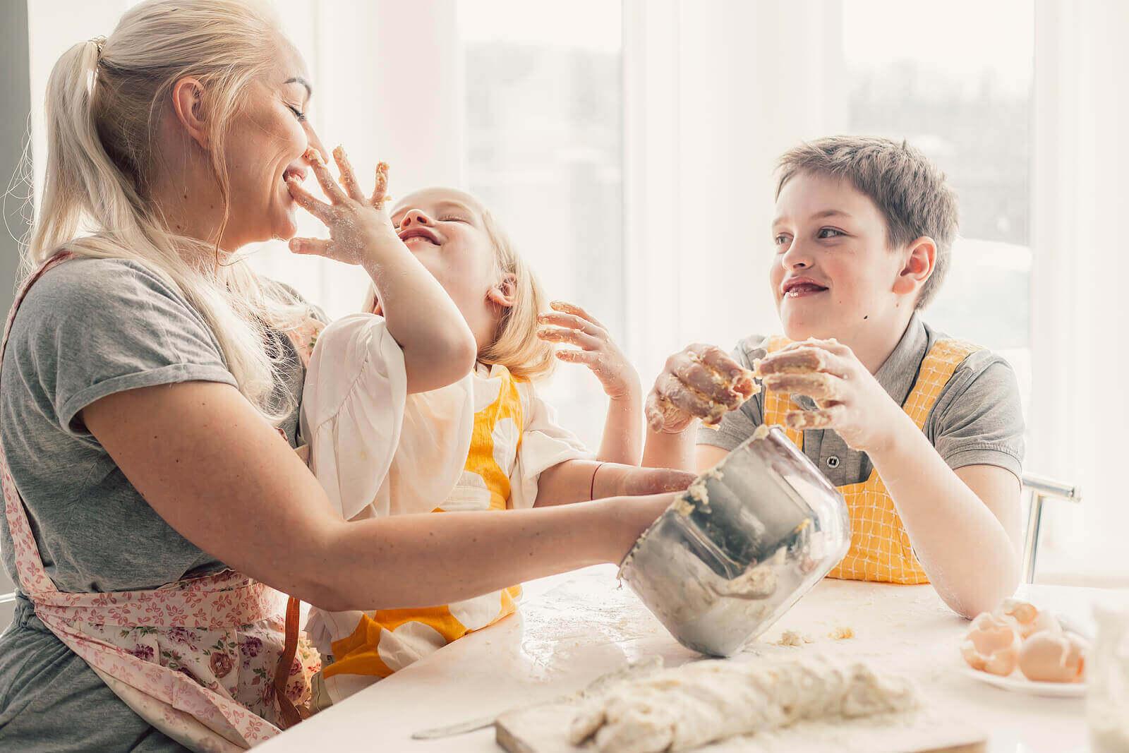 가족 활동으로서 어린이와 요리 활동